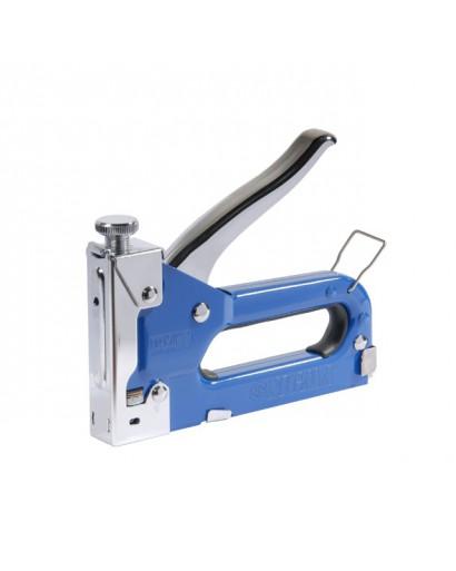 степлер с регулятором для скоб 4-14мм (синий)