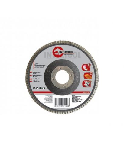 Диск шлифовальный лепестковый 115x22 мм, зерно K100 INTERTOOL BT-0110