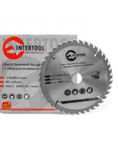 Диск пильный по дереву с твердосплавными напайками 210x30x1,5 мм; 40 зубьев INTERTOOL CT-3023