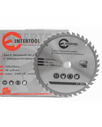 Диск пильный по дереву с твердосплавными напайками 250x30x1,7 мм , 40 зубьев INTERTOOL CT-3051