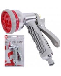 Пистолет-распылитель для полива хромированный 8-ми функциональный (центральный, туман, душ, угловой, полный, проливной дождь, конический, плоский.) AB INTERTOOL GE-0004
