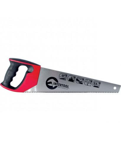 """Ножовка по дереву 400 мм с каленым зубом, 3-ая заточка 7 зуб.x1""""INTERTOOL HT-3104"""