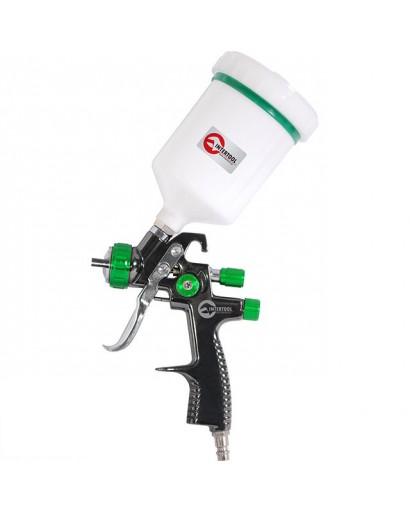LVLP GREEN NEWПрофессиональный краскораспылитель 1,3 мм, верхний пластиковый бачок 600 мл., mах 1,5 INTERTOOL PT-0132