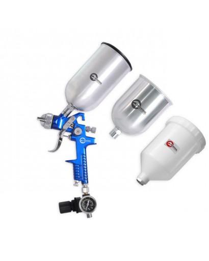 HVLP BLUE PROF KITКраскораспылитель 1,7 мм, с регулятором давления, тремя бачками (2-метал 800 / 600) INTERTOOL PT-1506