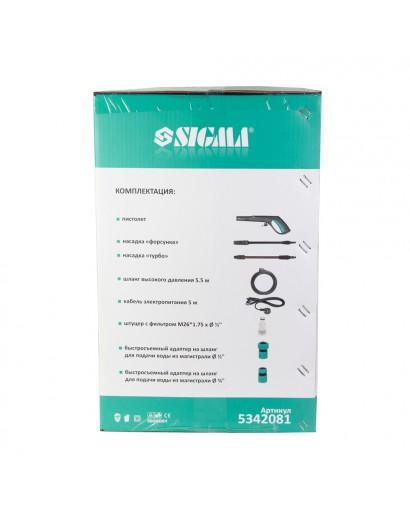 Мойка высокого давления 1800Вт max 140Бар 7 л/мин + турбонасадка SIGMA (5342081)
