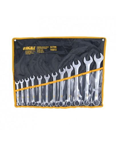 Ключи рожково-накидные 12шт 13-32мм CrV satine (тканевый чехол) SIGMA