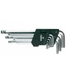 Ключи шестигранные длинные 1.5-10 мм 9 шт шаровидные наконечники с рабочим углом 30° CrV TOPEX