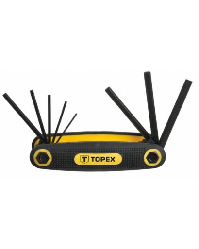 Ключи шестигранные 1.5-6 мм, набор 8 шт в держателе CrV TOPEX