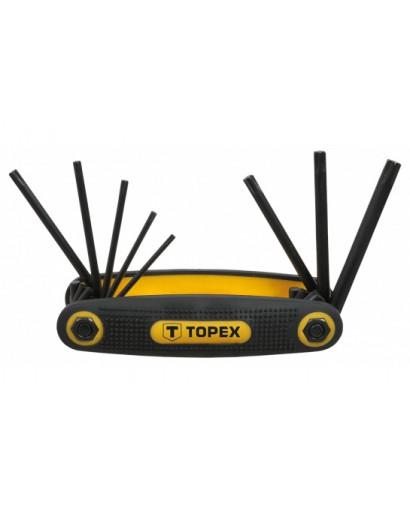 Ключи Torx T9-T40, набор 8 шт в держателе CrV TOPEX
