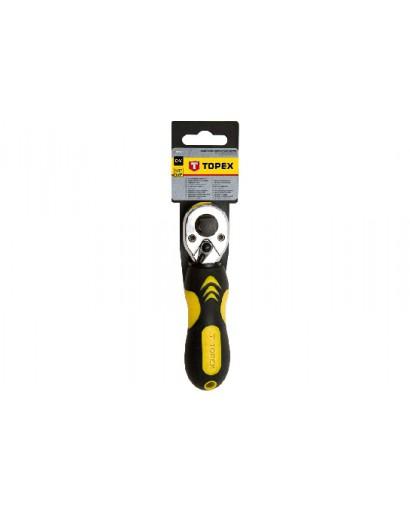 """Ключ-трещотка двухсторонняя 1/2"""" 3/8"""" 135 мм CrV 72 зуба DIN 3122 TOPEX"""