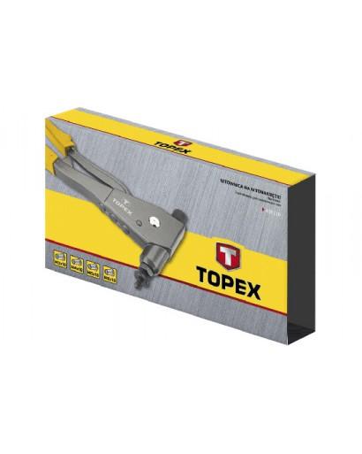Заклепочник для заклепок M3, M4, M5, M6, алюминиевых, для труб стальных, из нержавеющей стали, 4 головки, 270 мм, масса 1.1 кг TOPEX