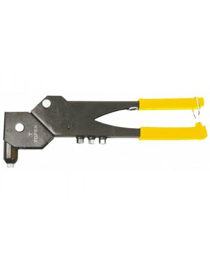 Заклепочник ручной с многопозиционной головкой 300 мм для алюминиевых заклепок 2.4 мм 3.2 мм 4.0 мм 4.8 мм TOPEX